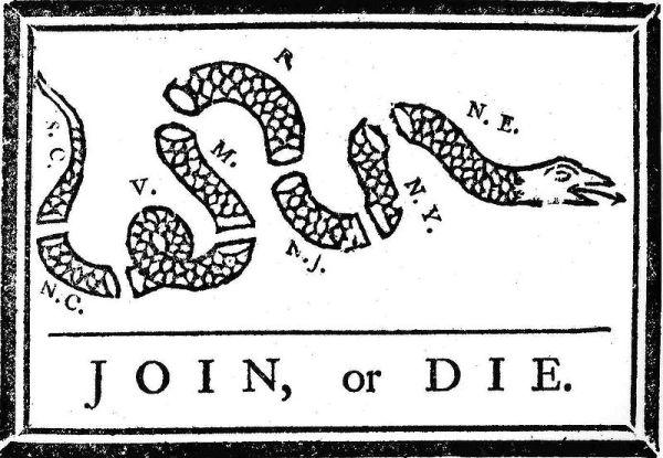 """Benjamin Franklin's """"Join, or Die"""" cartoon!"""