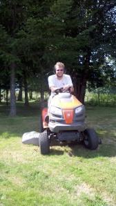 Jake mows